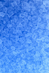 Salt grain illuminated with blue light