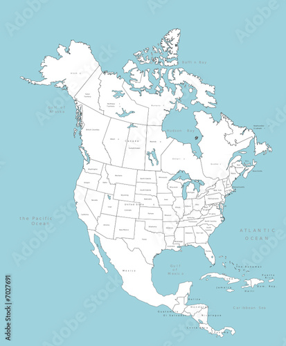 North America vector map with countries