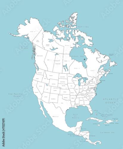 Mapa wektorowa Ameryka Północna z krajami