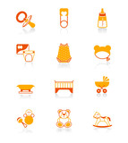 Fototapety Newborn and first years babies objects icon set in orange