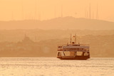 Ferry at sunset, Istanbul, Turkey poster
