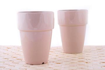 Two white mug isolated on a white background