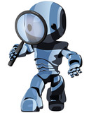 Glossy Blue Robot Looking Through Magnifying Glass Forward poster