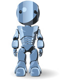 Blue Glossy Robot Standing Forward poster