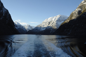 Norwegian fjord in wintertime