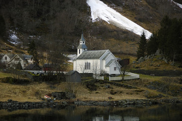 Norwegian church near fjord