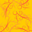 Yellow tone square abstract background with orange ornaments