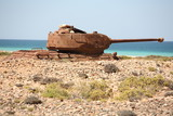 Soviet battle tank T-34 on Socotra Island poster