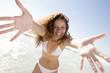 Woman wearing bikini at beach