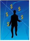 Business Man juggling dollars poster
