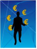 Business Man juggling euro poster