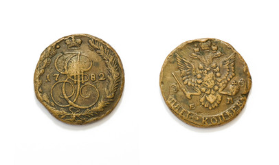 Coin of Russian Empire 18th century 1782
