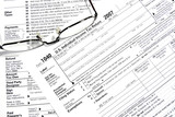 Close-up of a Federal Tax Return Form  poster