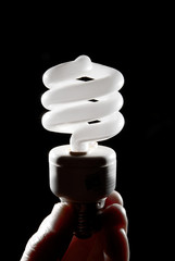 Human hand holding cfl lightbulb vertically