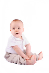 Cute Sweet Baby Boy on White Background