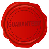 red wax stamp with the word guaranteed in it  poster