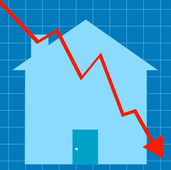blue graph with house - crashing housing market