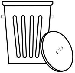 outline of garbage can or bin on white background