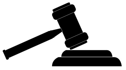 silhouette of gavel - hammer of judge or auctioneer