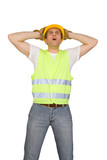 Scared construction worker isolated on white background poster