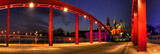 Fototapety Red bridge and cathedral in the night