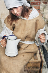 Poor little beggar girl..