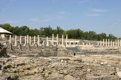 Ruins of an ancient city of Scythopolis in Beit-Shean, Israel