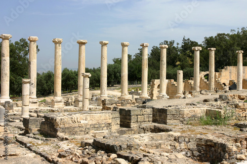 Columns of an ancient city of Scythopolis in Beit-Shean, Israel