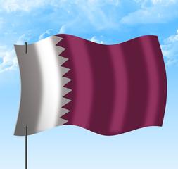 Drapeau du qatar vent et ciel