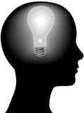 Idea Woman Mind Light Bulb in Silhouette Head poster