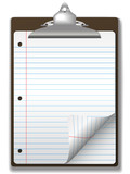 Clipboard School Ruled Notebook Paper Corner Page Curl poster