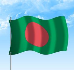 Drapeau du Bangladesh , république populaire, ciel et vent