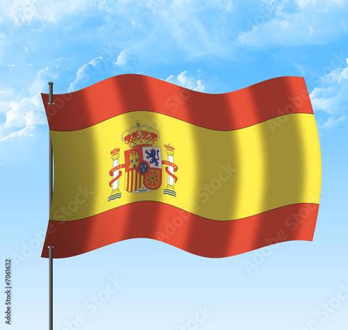 Drapeau de l' Espagne , ciel et vent