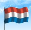 Drapeau du Pays Bas, ciel et vent