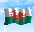 Drapeau du pays de Galles , ciel et vent