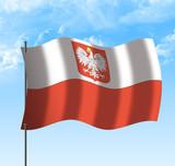 Drapeau de la Pologne , ciel et vent