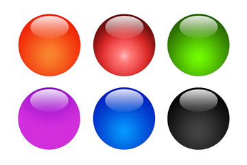 Set Of Six Glossy Shiny Buttons / Icons (Red, Green, Blue, Black