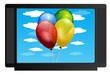 tv com balões