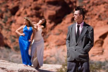 Fashion punk model with girls