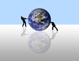 peole pushing the Earth
