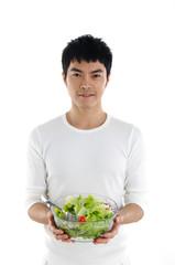 Health Asian holding  salad