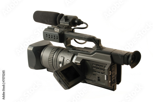 Professional digital video camera on white background