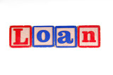 LOAN written with old wooden blocks poster