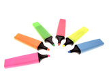 Six highlighters on white background poster