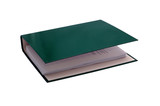 documents in green file binder on white background poster