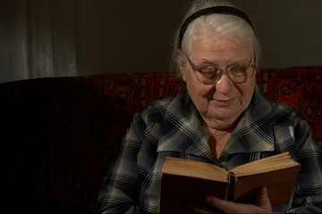 Wise woman behind reading by the book