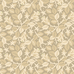 Roses in bloom floral seamless repeat pattern, beige