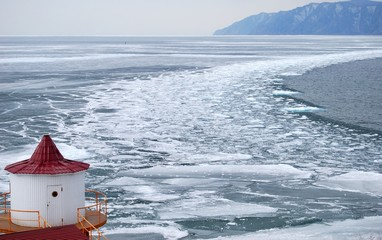 Melting ice on the Baikal lake in winter. The top view