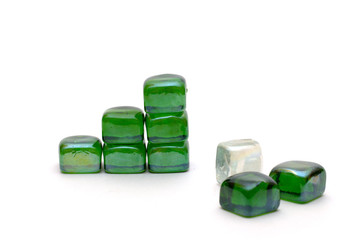 the success graph of green stone isolated over white
