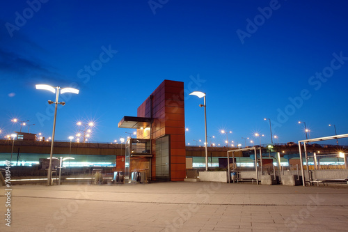 Railway station entrance by night, Krakow, Poland - 7089467